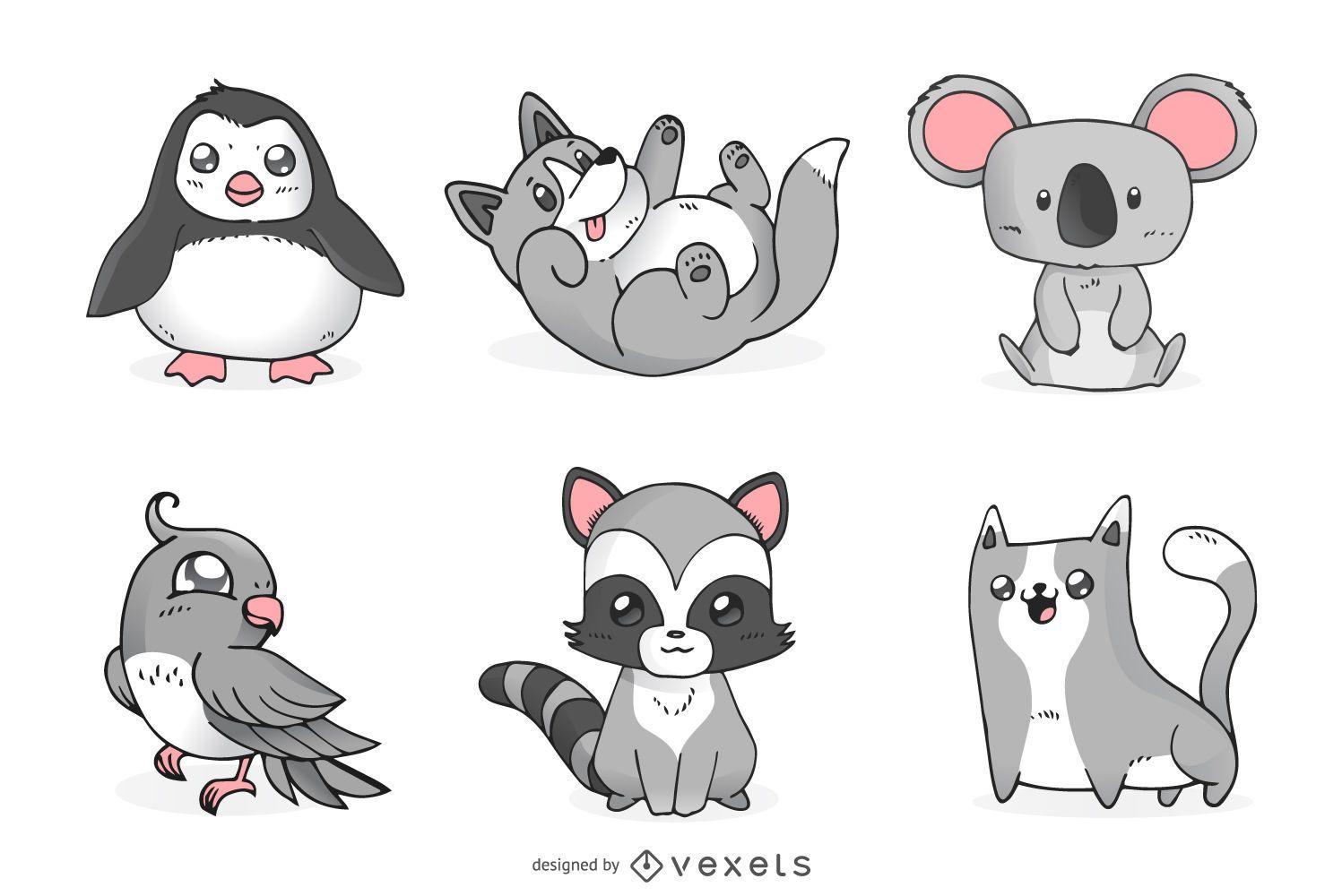 Conjunto de animales lindos monocromáticos.