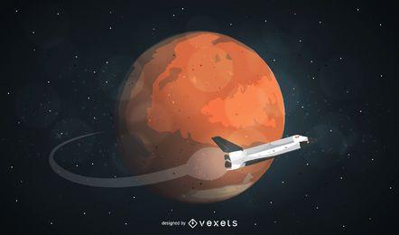 Ilustração de viagem do planeta Marte