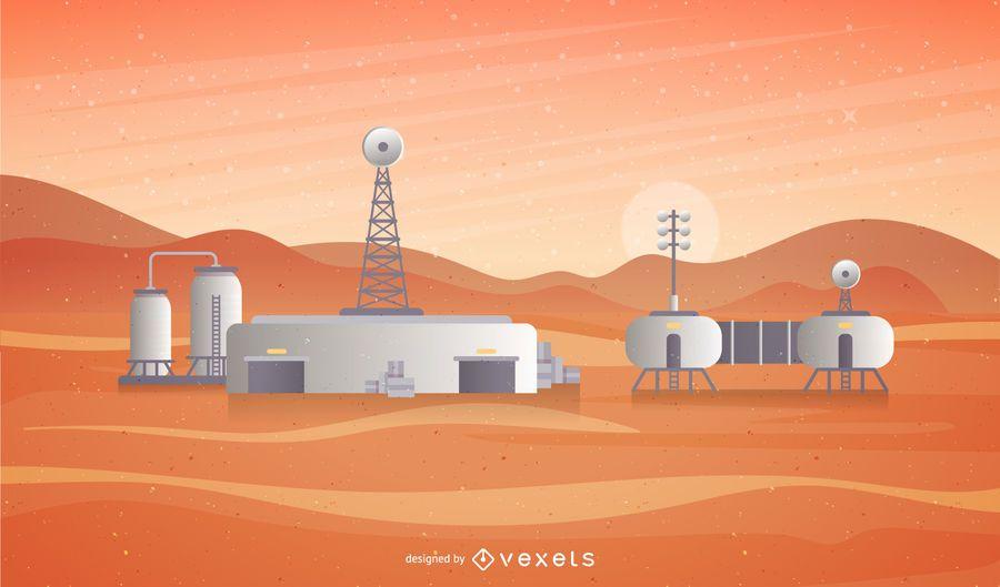 Ilustración de la estación espacial de Marte