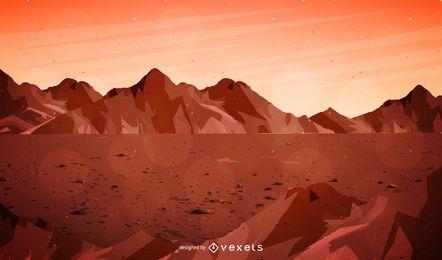 Ilustração da paisagem de Marte