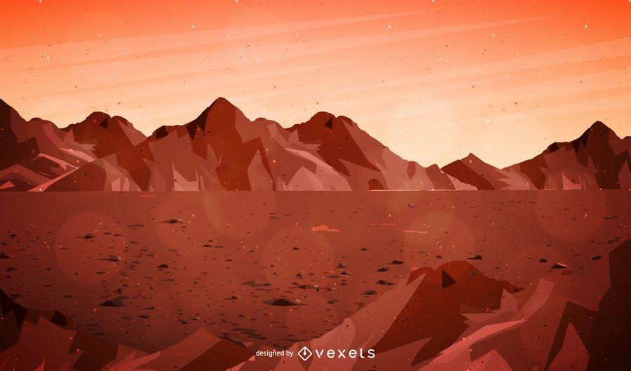Ilustração de paisagem de Marte