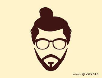 Homem, coque, penteado, silueta