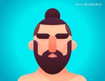 Homem, coque, penteado, ilustração