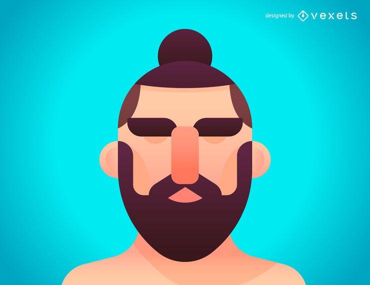 Ilustración de peinado de moño de hombre