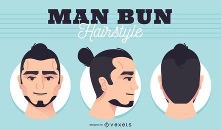 Conjunto de cabeza de bollo de hombres