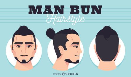 Men bun head set