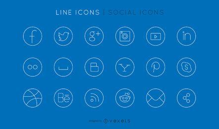 Soziale Linie Icons Set