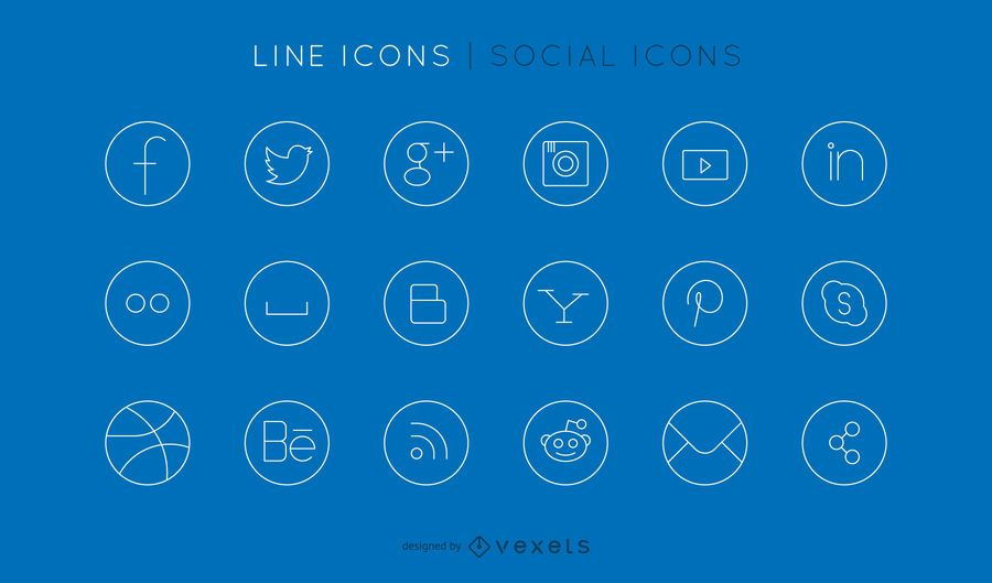 Conjunto de ícones de linha social
