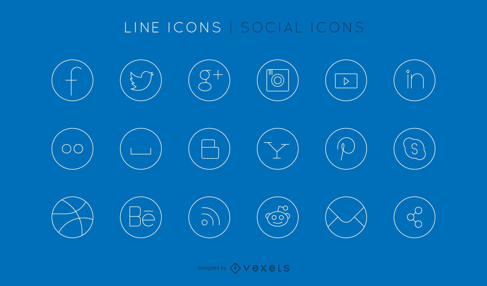 Conjunto de iconos de línea social