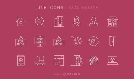 Conjunto de ícones de linha imobiliária