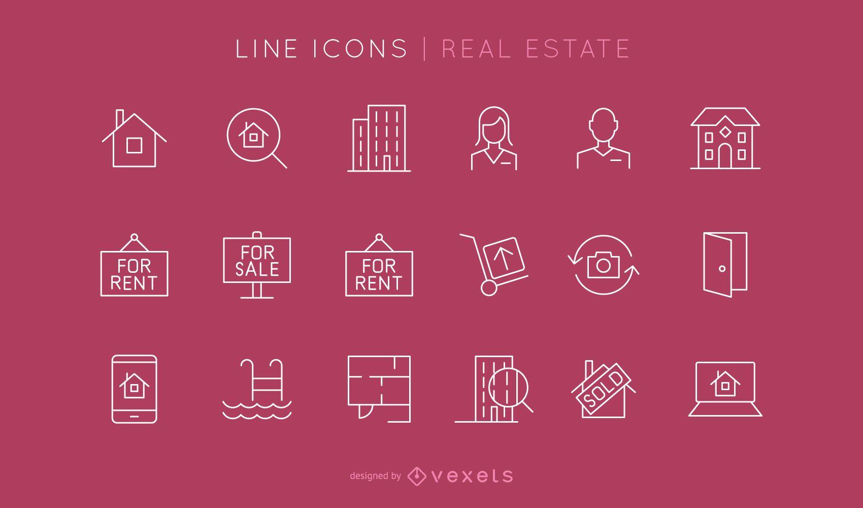Conjunto de iconos de línea inmobiliaria