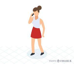 Mulher, falando, telefone, isometric, ícone