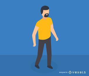 Homem, com, barba, isometric, ícone