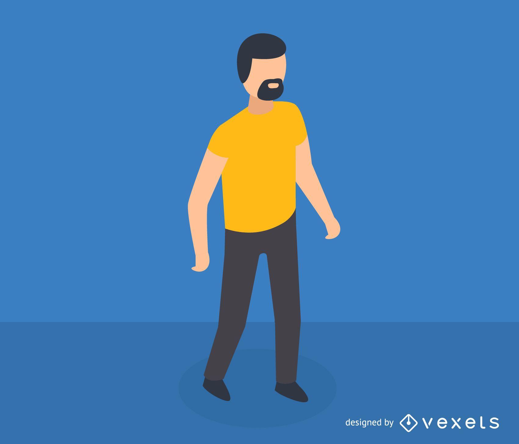Hombre con icono isométrico de barba