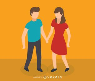 Icono isométrica pareja joven