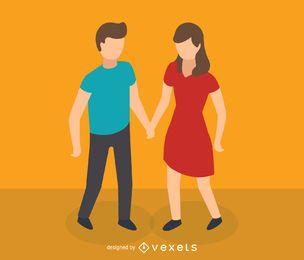 Isometrische Ikone des jungen Paares