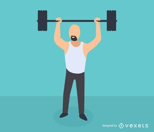 Icono isométrico de levantamiento de pesas de hombre