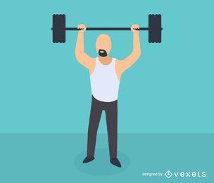 Isometrische Ikone des Manngewichtheben