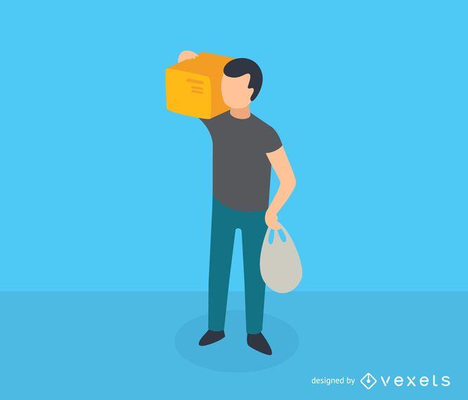 Icono isométrico de caja de hombre llevando