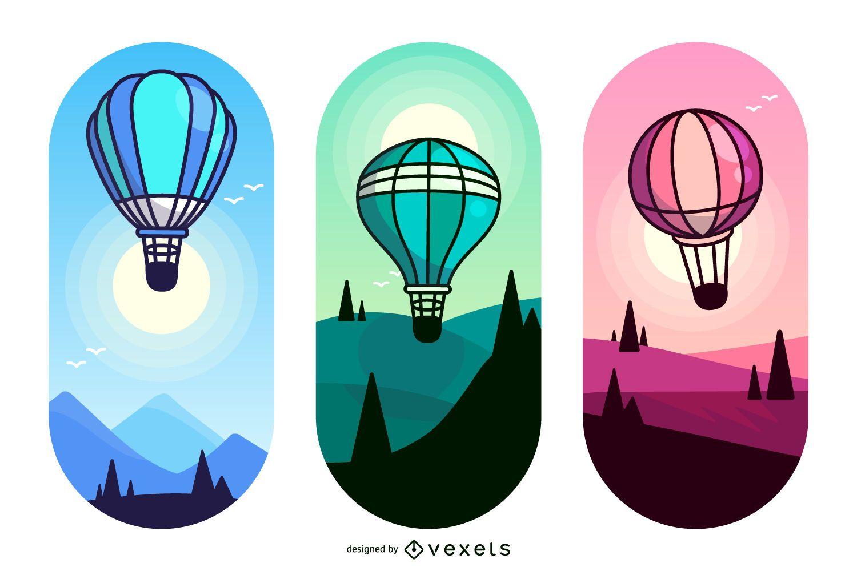 Conjunto de ilustración de globo de aire caliente plano