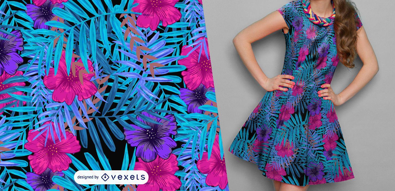 Patrón de flores y hojas azules