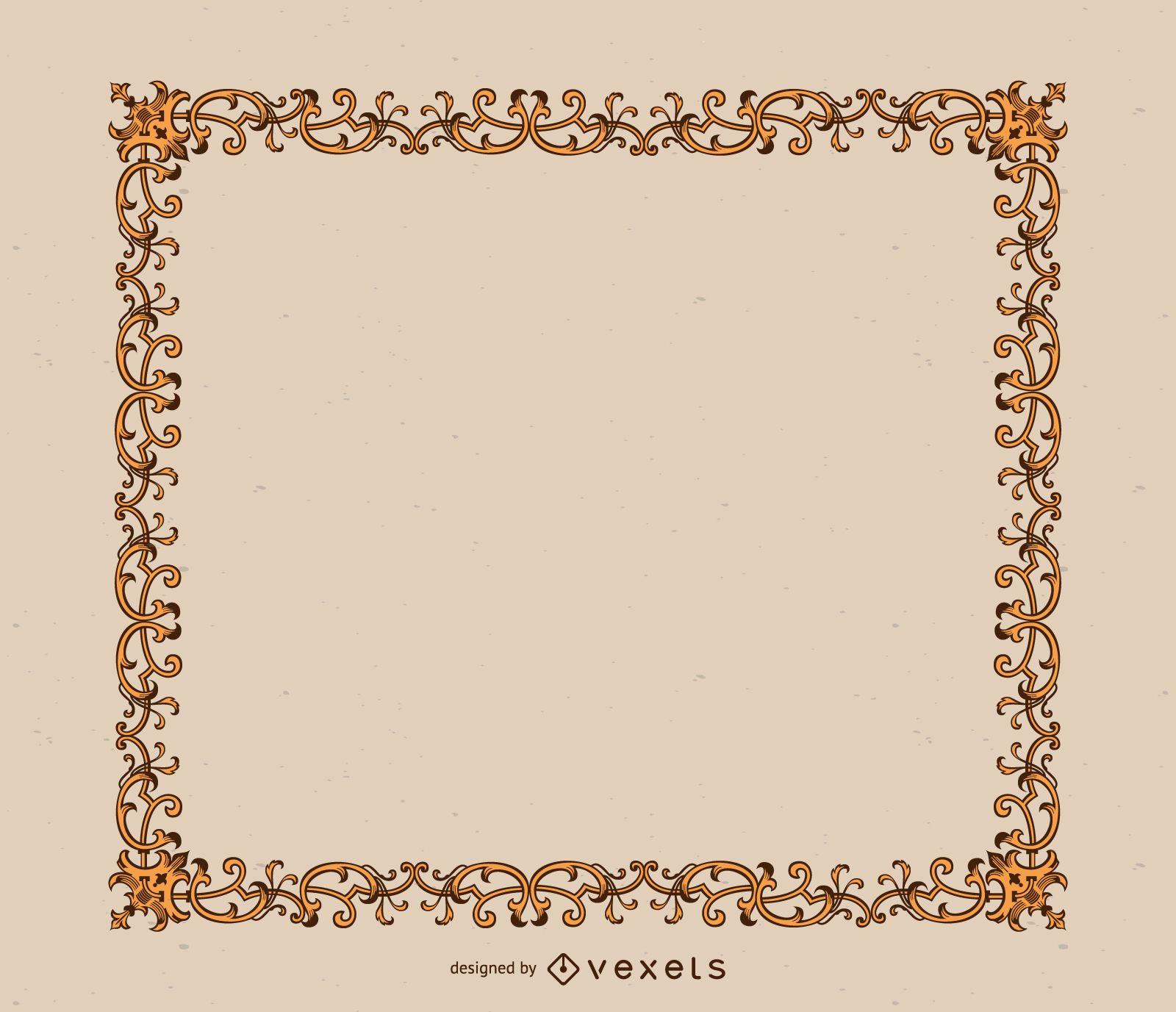 Elegant golden ornaments frame