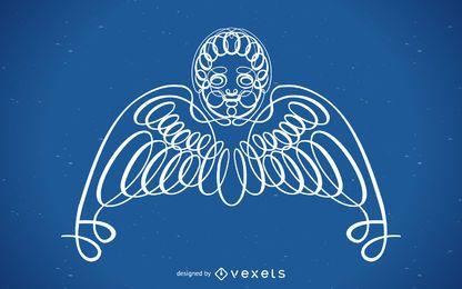 Adorno de angel rizado