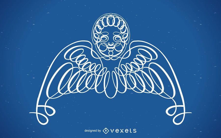 Enfeite de anjo encaracolado