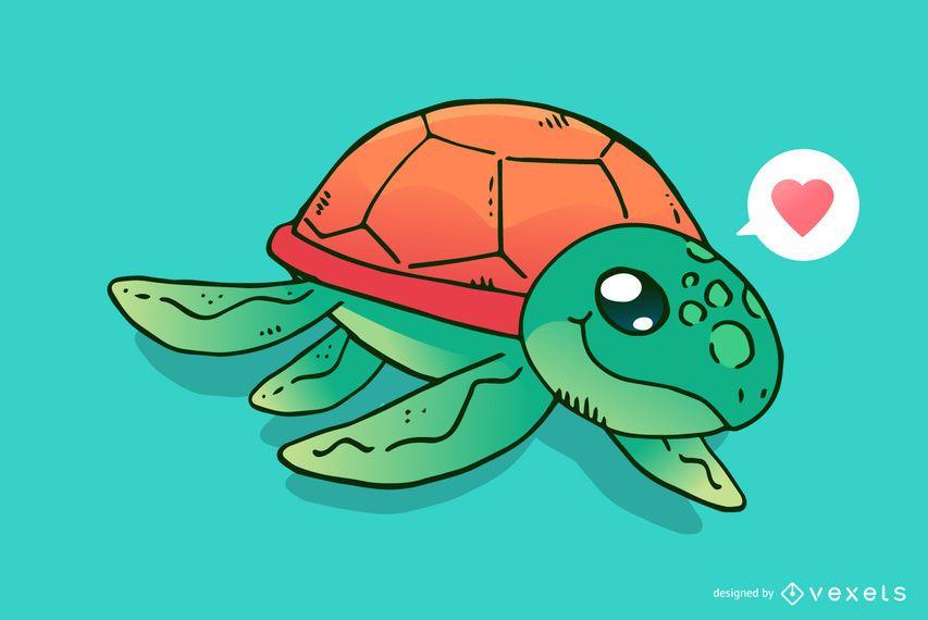 Niedliche Meeresschildkröte-Karikatur