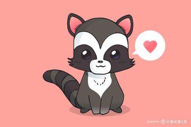 Lindo, mapache, caricatura