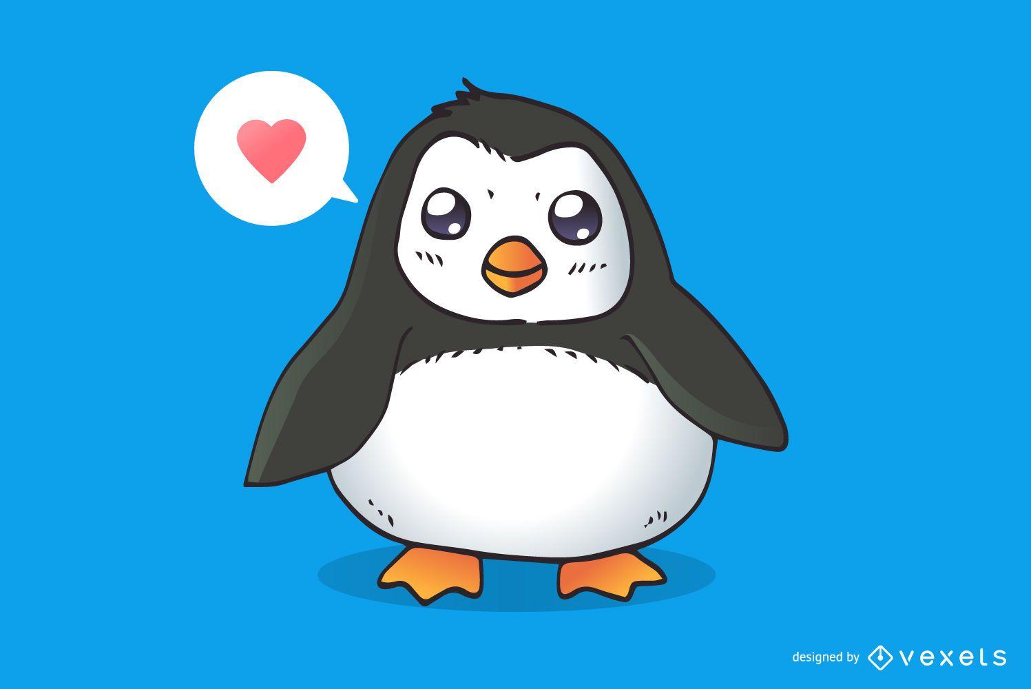 Caricatura lindo pingüino amoroso