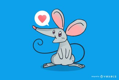 Cute friendly mouse cartoon