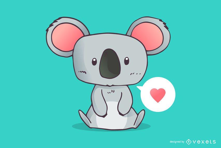 Cute koala love cartoon