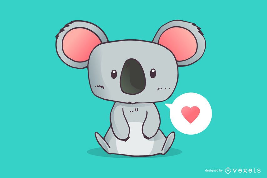 Desenho de amor koala fofo