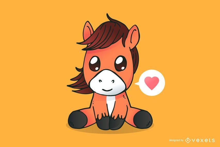 Dibujos animados lindo caballo