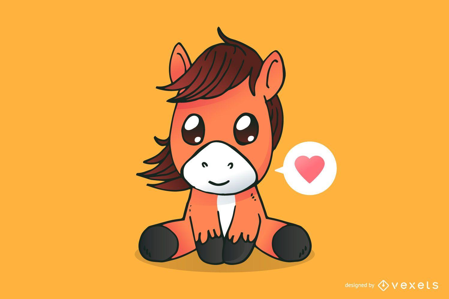 Caricatura lindo caballo