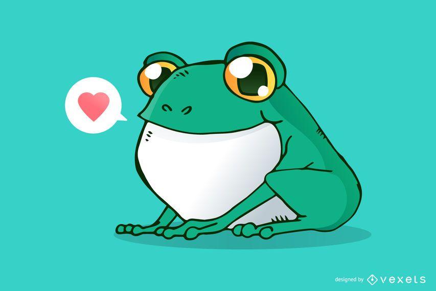Cute frog cartoon illustration