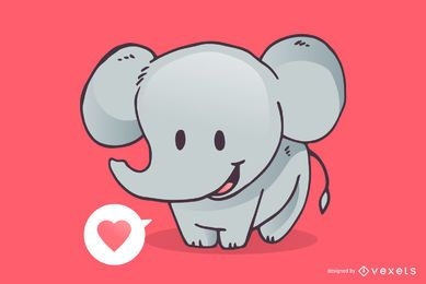 Cute elephant love cartoon
