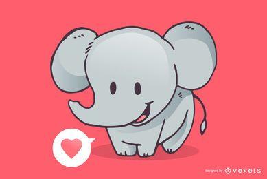 Dibujos animados lindo amor elefante