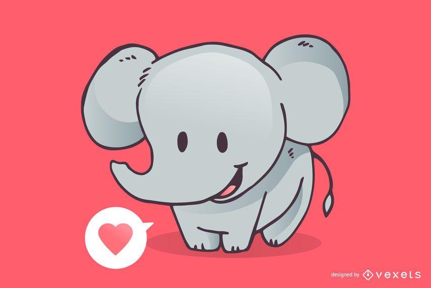 Desenho de amor de elefante fofo