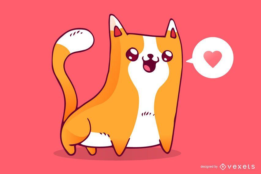 Dibujos animados de amor lindo gato
