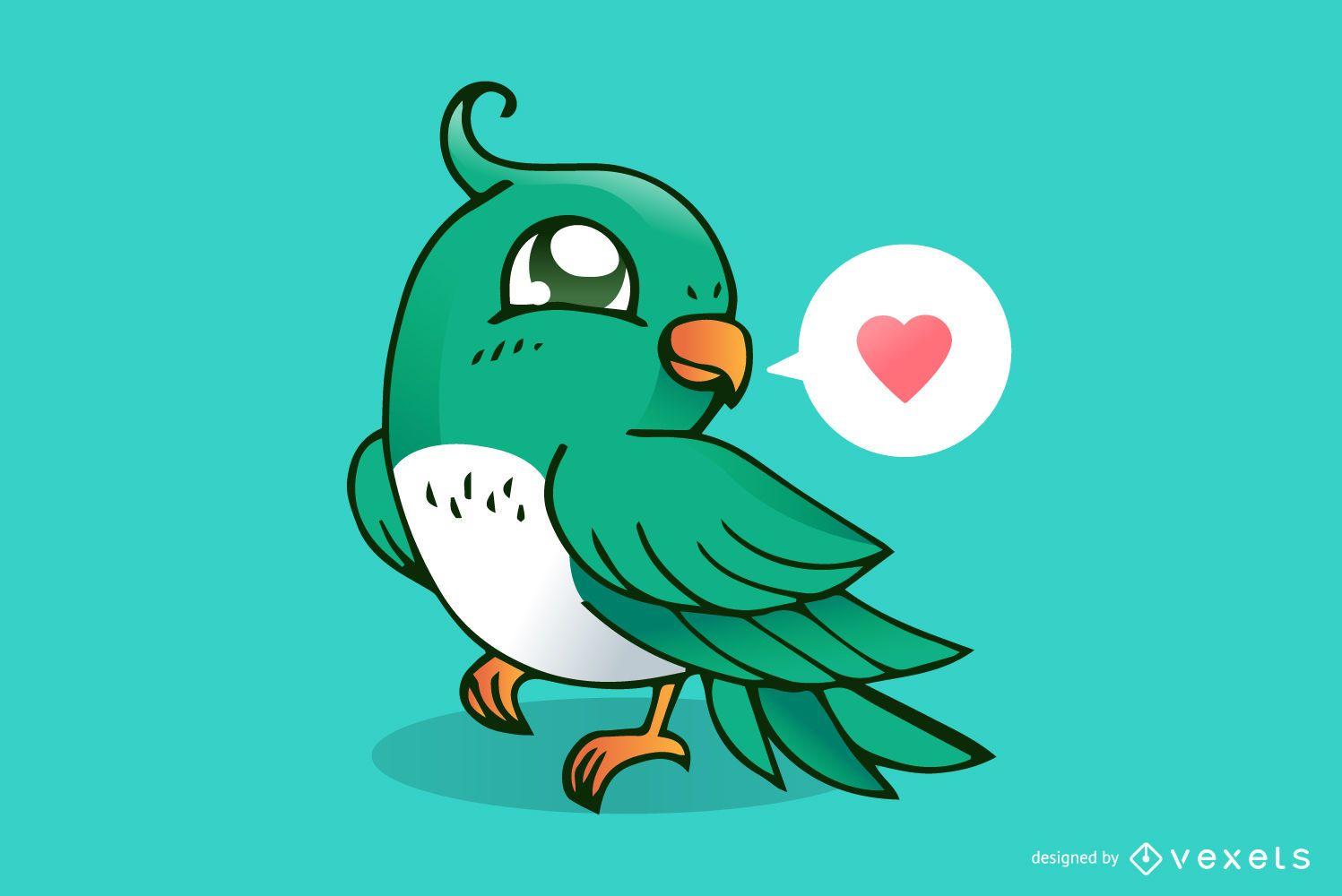 Caricatura lindo pájaro amor