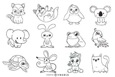 Nette Tiere umreißen die eingestellten Illustrationen