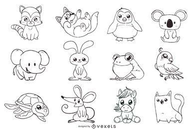 Niedliche Tiere umreißen Illustrationssatz