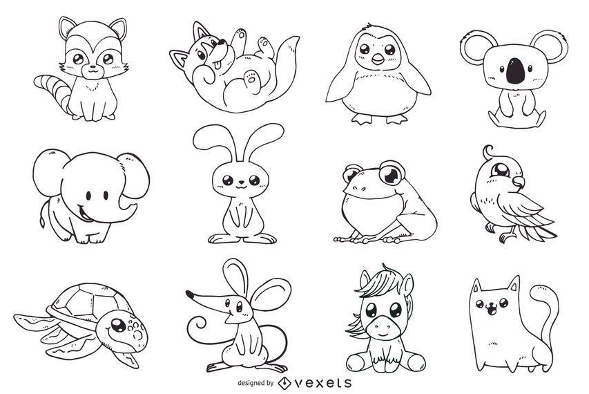 Animais fofos contorno conjunto de ilustrações