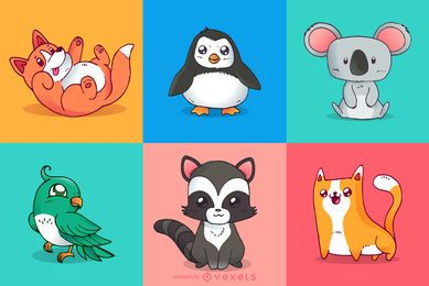 Ilustraciones coloridas de animales lindos
