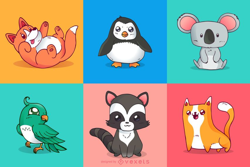 Cute animals colorful illustrations