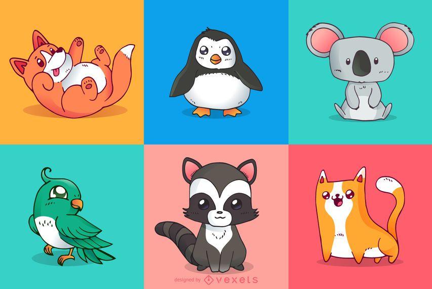 Ilustrações coloridas de animais fofos