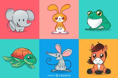 Conjunto de desenhos de animais fofos