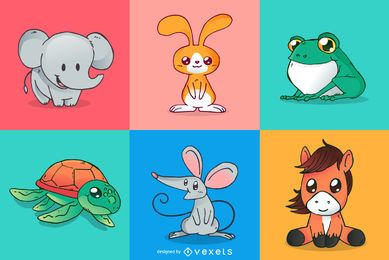 Cute animals cartoons set